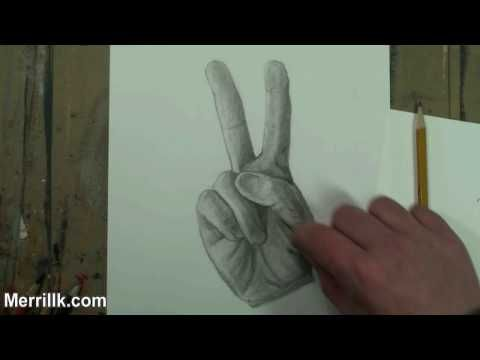480x360 How To Draw The Hand Step By Step (Peace Sign) Pencil Drawing