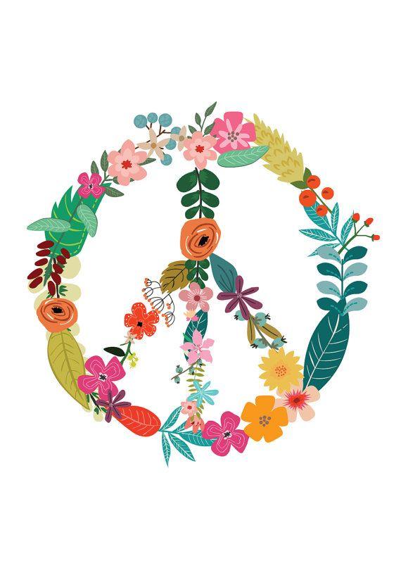 570x807 Floral Peace Sign Flower Power, Motivational Print