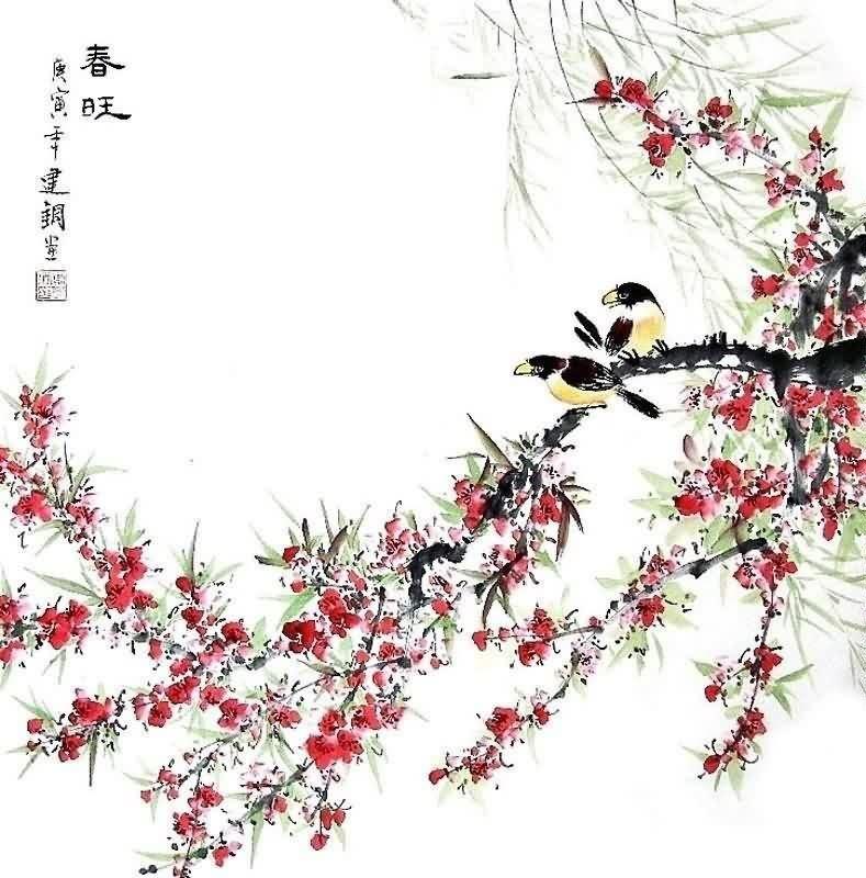 789x800 Chinese Peach Blossom Painting 2428001, 66cm X X 26