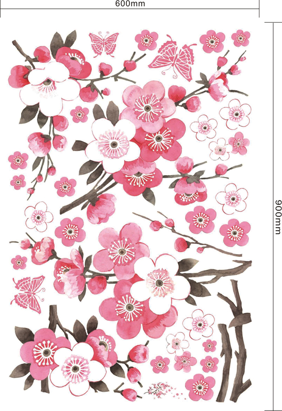 549x800 Large Flowers Peach Blossom Wall Stick Hand Drawing Style Sitting