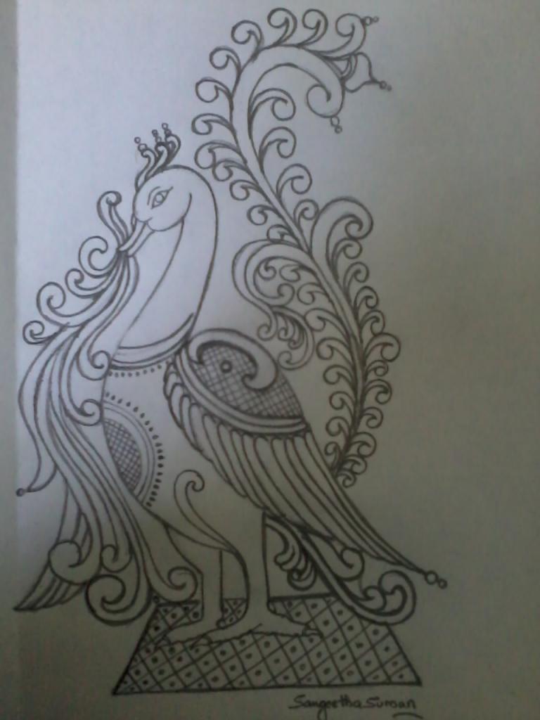 768x1024 Pencil Sketch Peacock Pencil Sketch Peacock With Flower Peacock