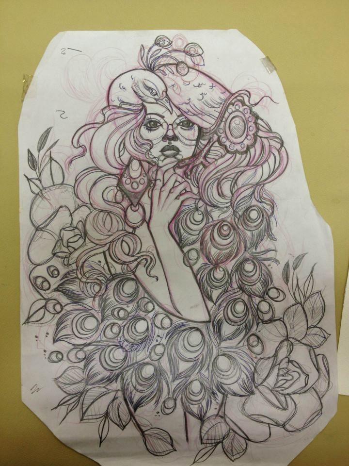 720x960 Girl Peacock Drawing
