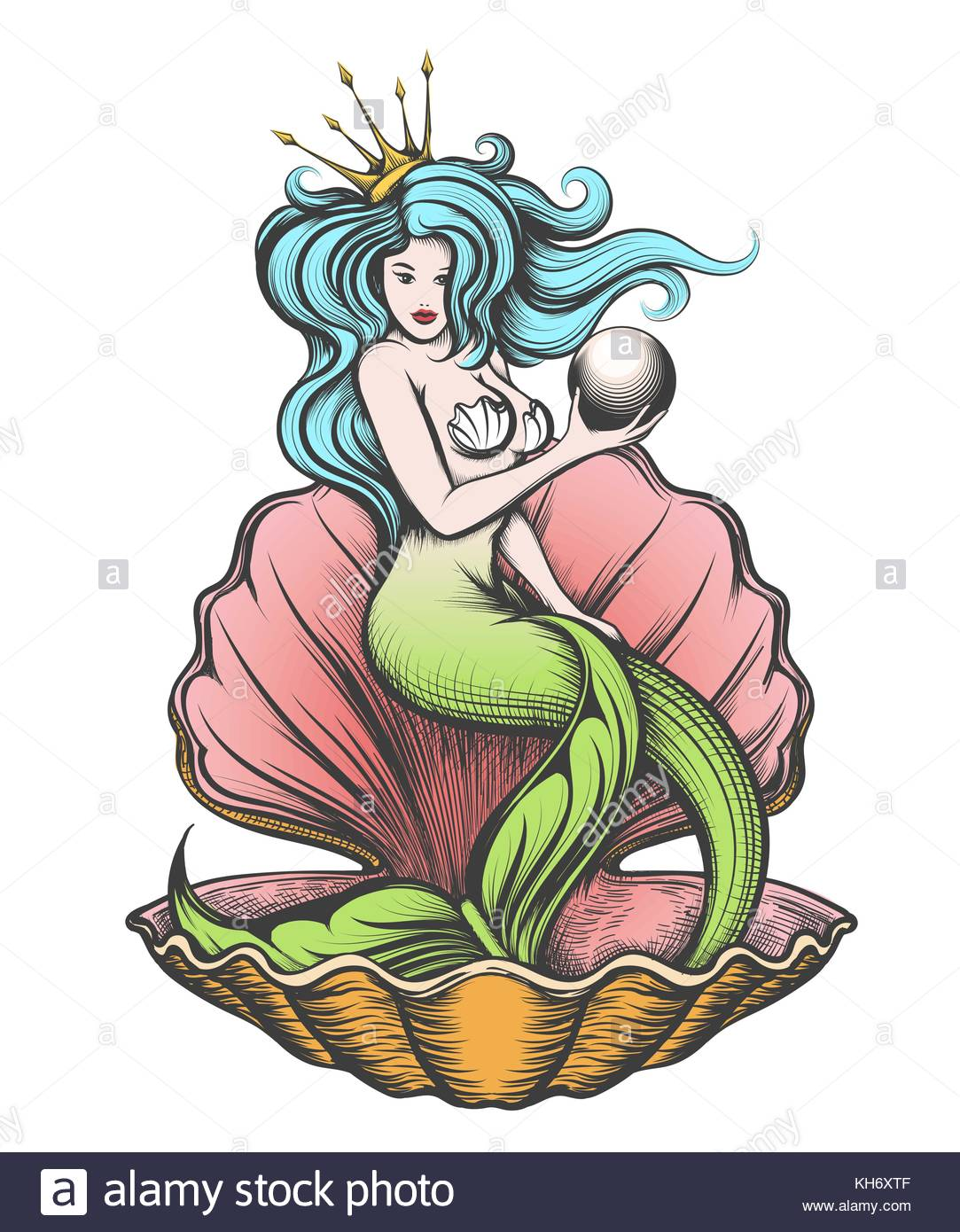 1083x1390 Long Haired Mermaid In An Open Pearl Shell Holds A Pearl In Her
