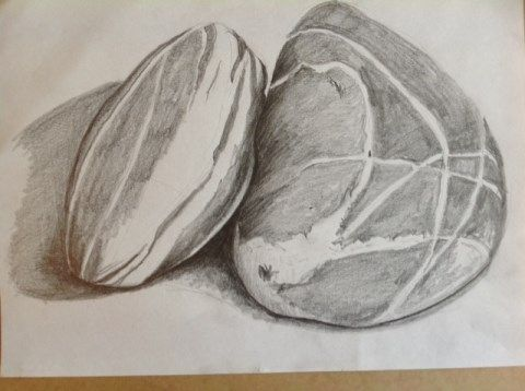 480x358 A Teaching Example Of Two Pebbles, Using All The Range Of Pencils