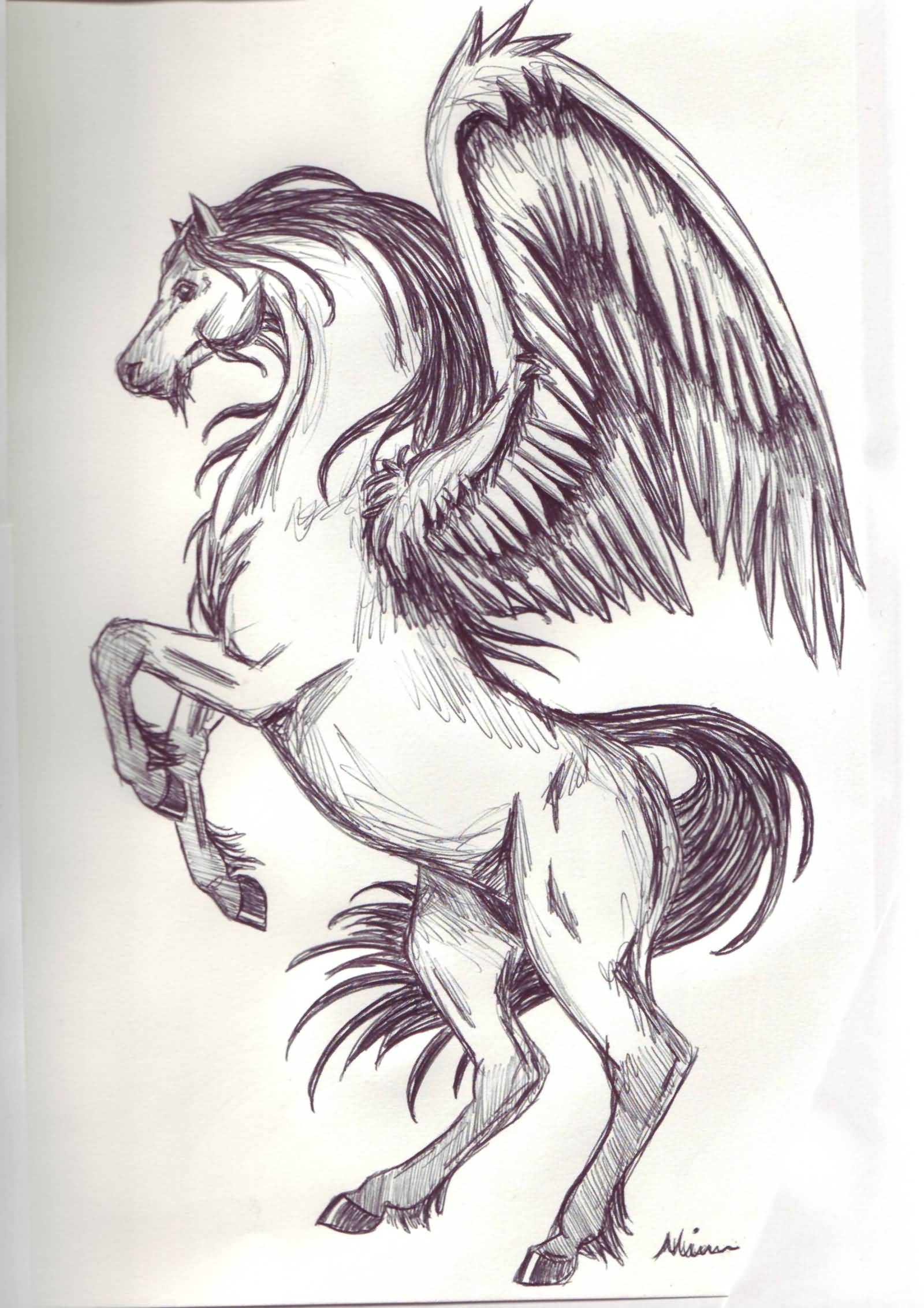 1600x2264 Wonderful Jumping Pegasus Tattoo Drawing By Spiritwings