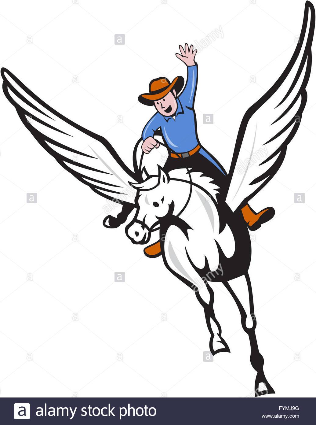 1035x1390 Cowboy Riding Pegasus Flying Horse Cartoon Stock Photo 103100972