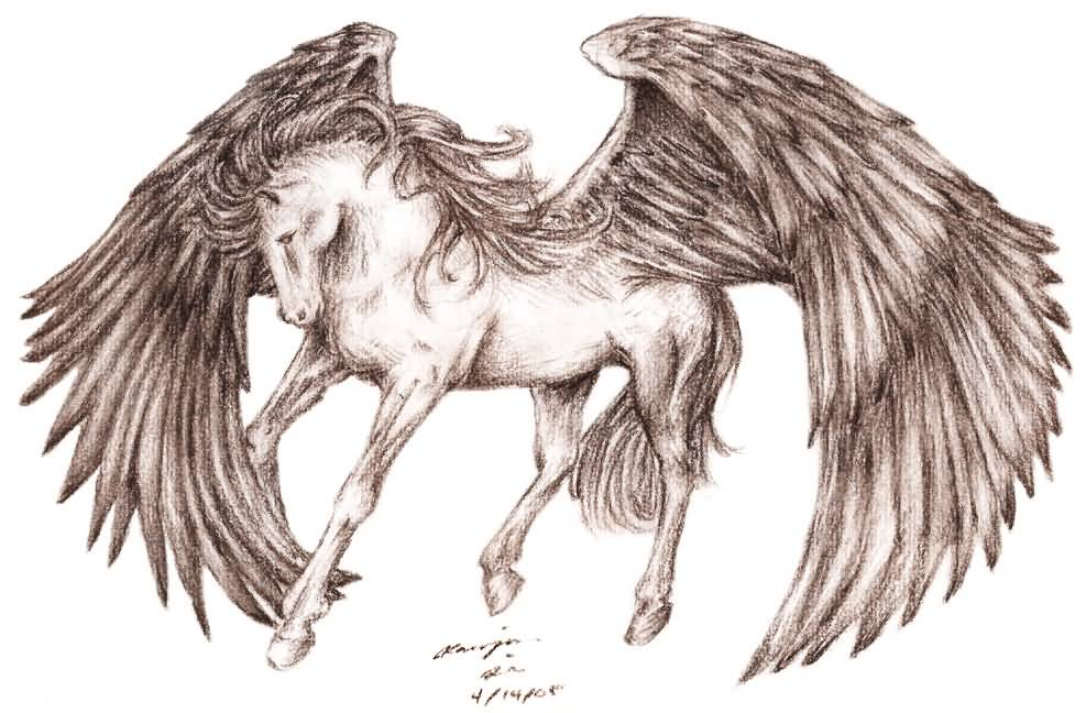 987x648 Wonderful Pegasus Having Large Wings Tattoo Design By Baileymcdoogle