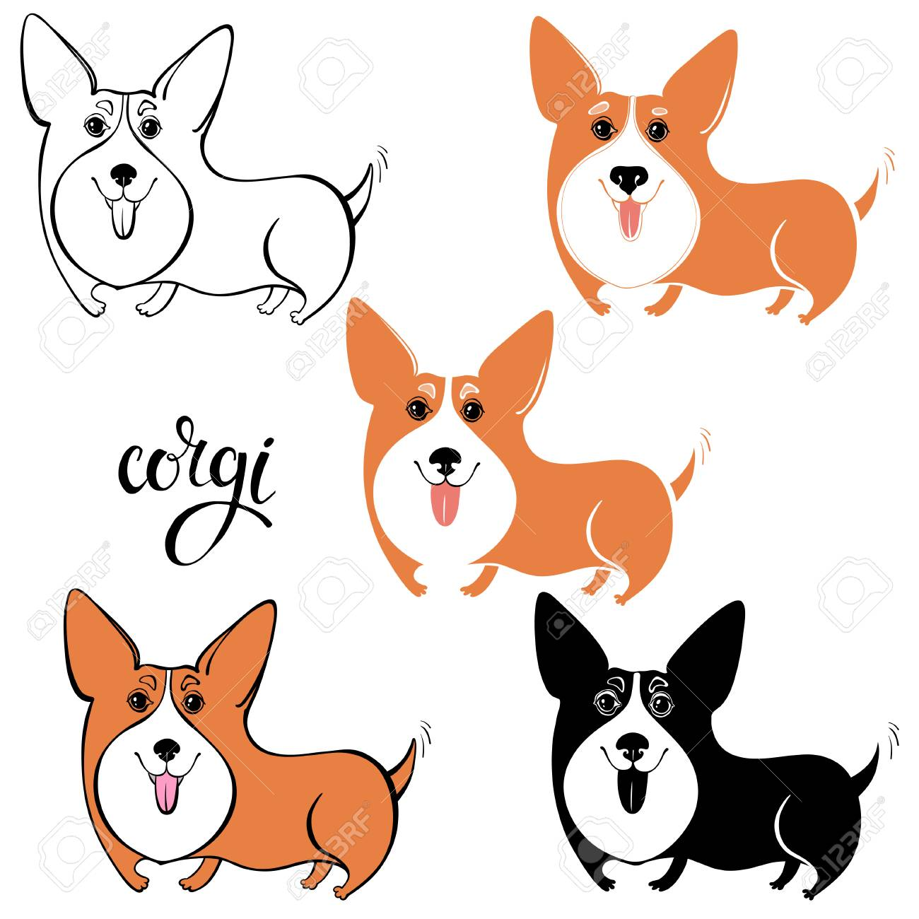 1300x1300 Cartoon Corgi Pembroke, Welsh Corgi Hand Drawn Vector Illustration