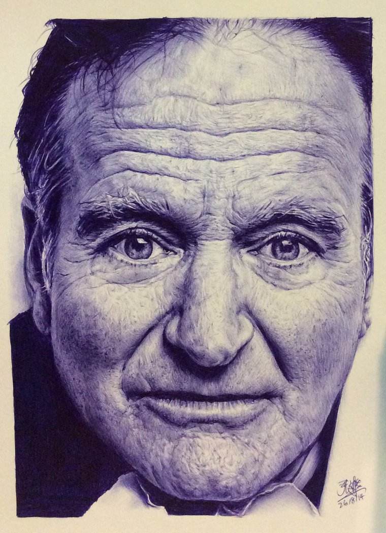 760x1050 Ballpoint Pen Drawing Of Robin Williams By Chaseroflight