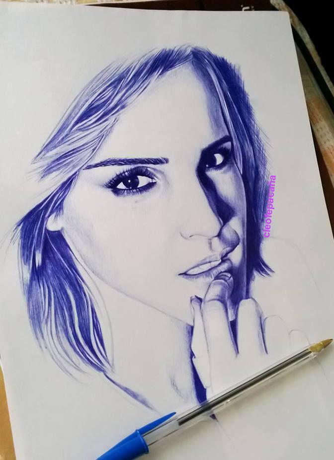 672x926 Emma Ballpoint Pen Drawing By Cloelali11