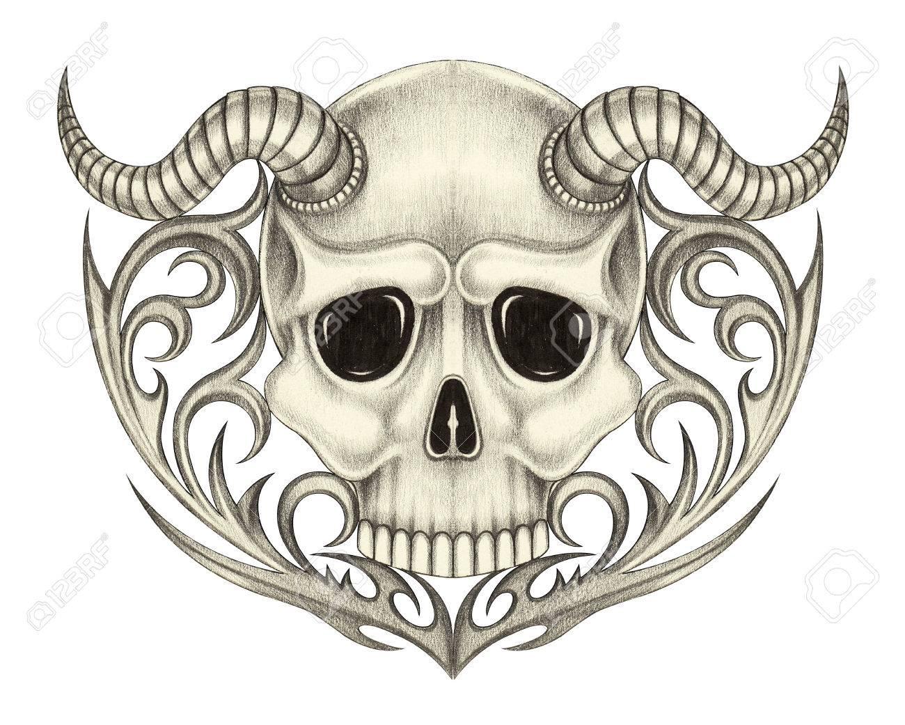1300x1041 Skull Devil Tattoo. Art Design Skull Devil Head Mix Graphic Tribal