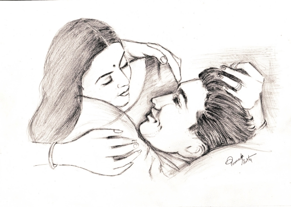 600x426 40 Romantic Couple Pencil Sketches and Drawings