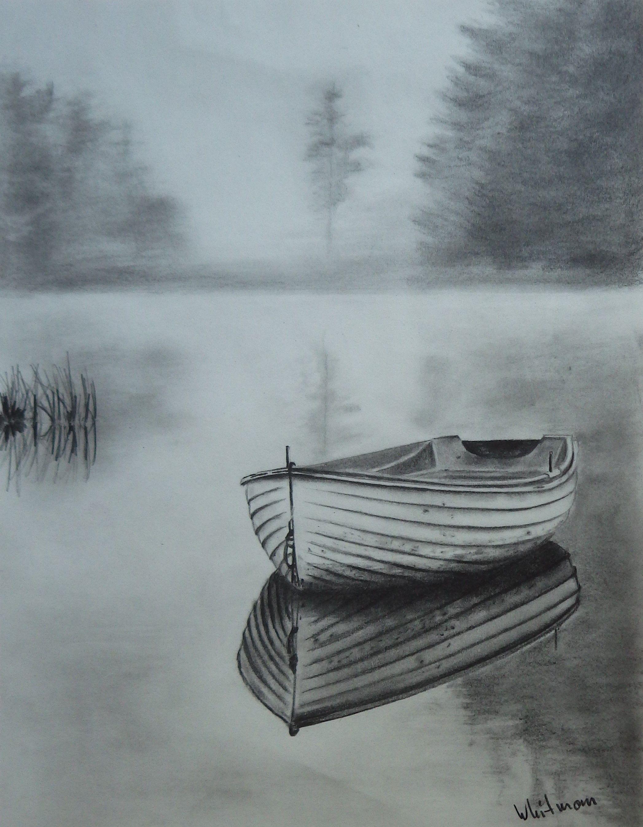 2094x2693 Misty Row Boat Sketch, Water Reflections. Original Art, Graphite