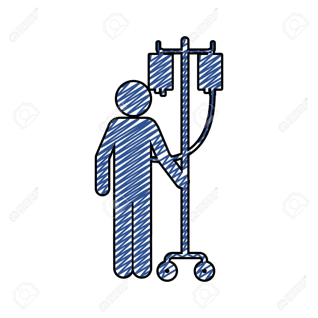 1300x1300 Color Pencil Drawing Of Pictogram Person Hospitalized Icon Flat