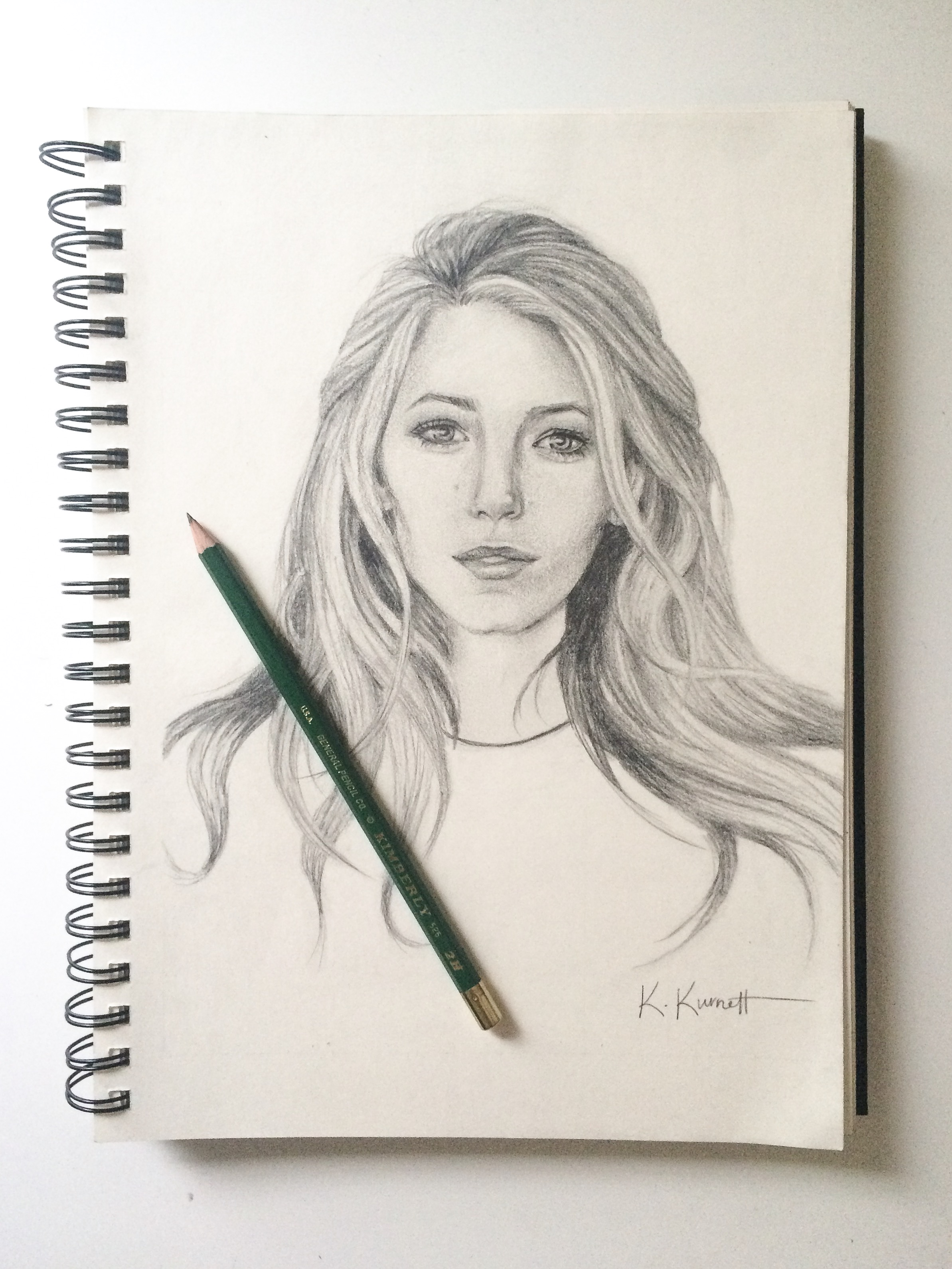 2386x3181 Pencil Drawing Of Blake Lively 9x12 Graphite On Paper Art