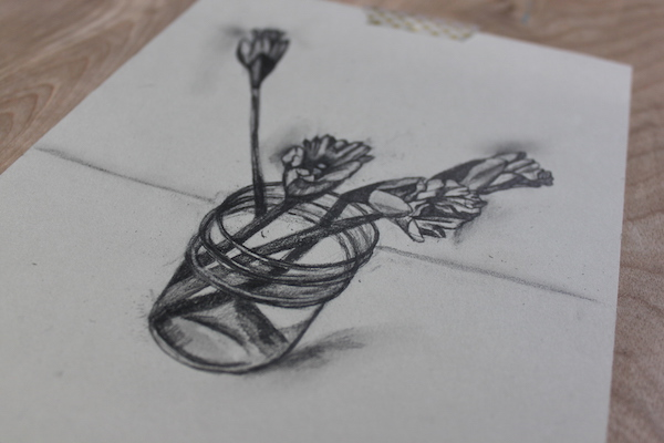 600x400 use simple shapes for realistic pencil drawings of flowers
