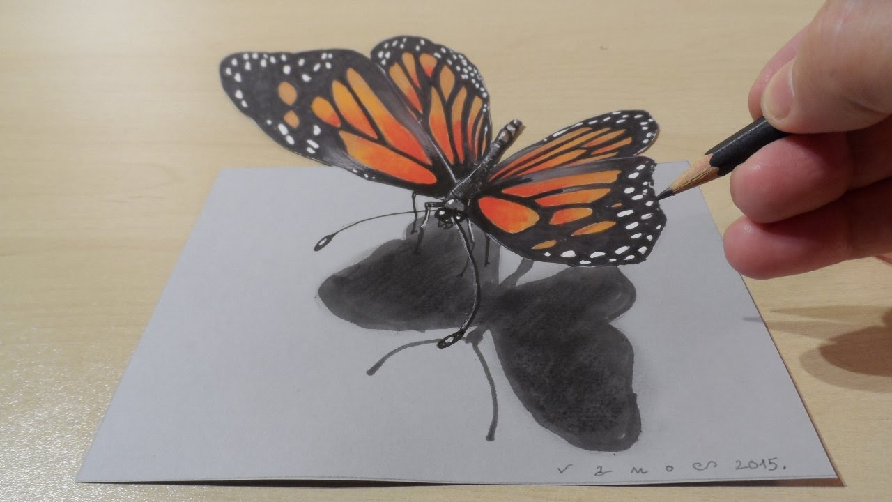 1280x720 3D Butterfly Picture Pencil Sketch 3D Drawing Butterfly