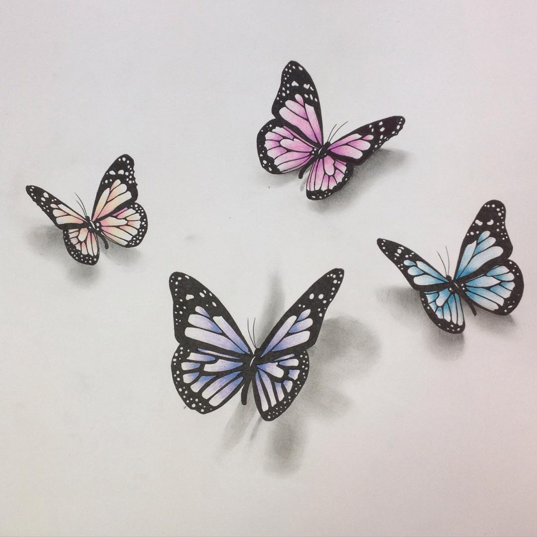 1080x1080 3d Butterfly Sketch 3d Butterfly Drawing
