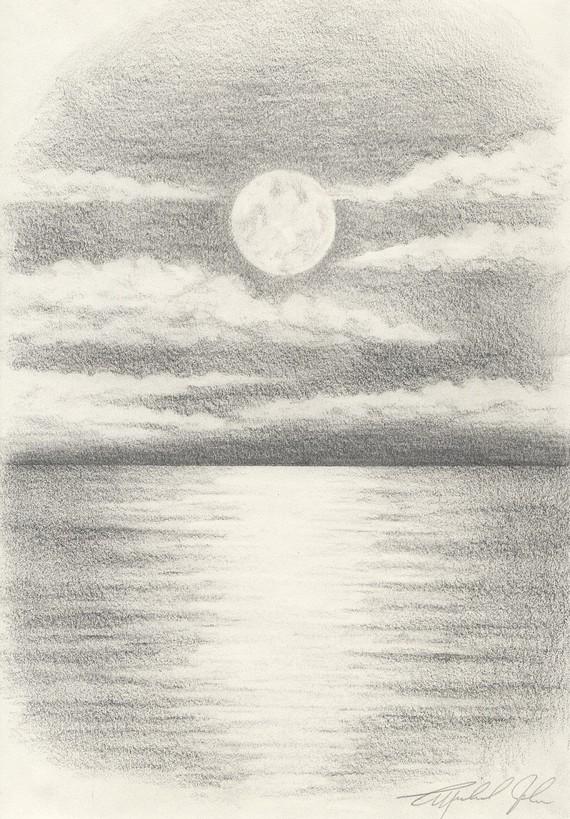 570x819 Drawn Moon Pencil Drawing