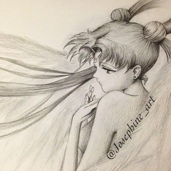600x600 Pencil Drawing Of Sailor Moon Princess Serenity Art