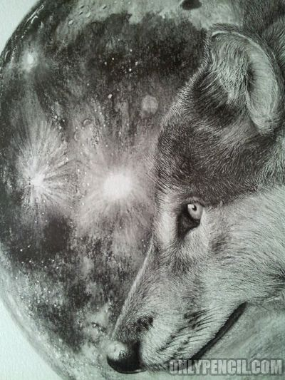 400x533 Wolf Moon Pencil Drawing Drawing Class Ideas Wolf