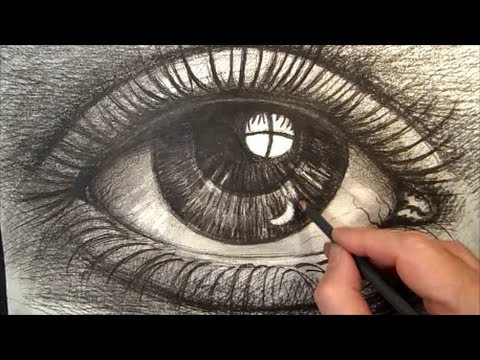 480x360 Drawing Eye With Charcoal, Artistic Graphic