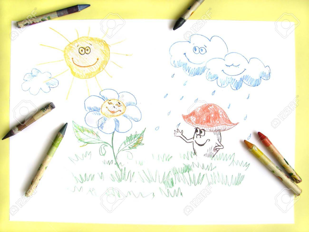 1300x975 Kids Pencil Drawing Of Happy Sun, Clouds, Flower And Mushroom
