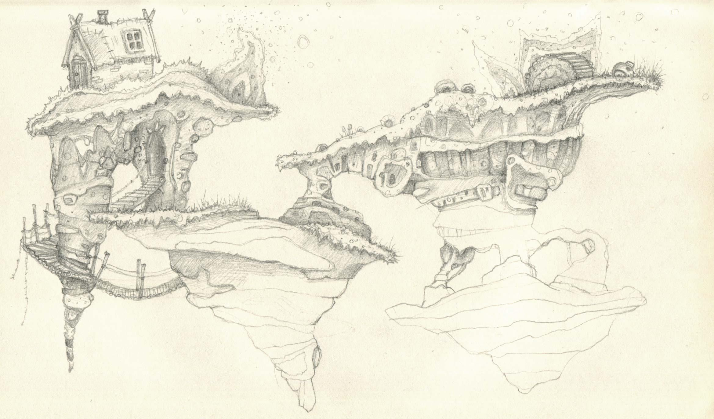 2339x1372 Floating Islands Pencil Sketch With A Rope Bridge And Thatched