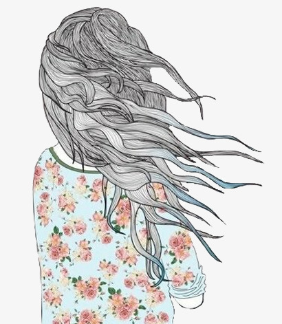 410x471 Hair Illustration, Girls, Long Hair, Pencil Drawing Png Image