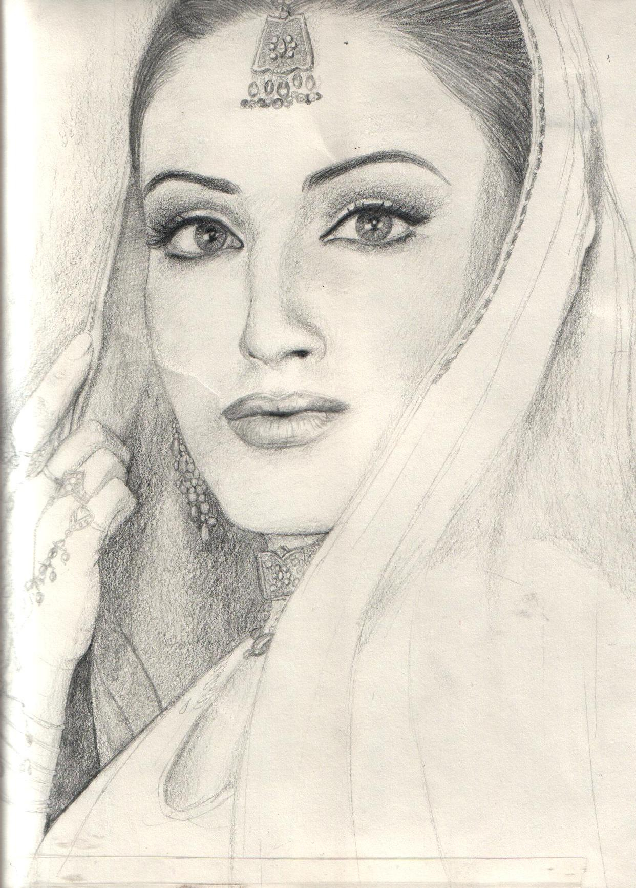1242x1732 Indian Lady Face Sketch Pencil Sketch Of A Indian Girl Face