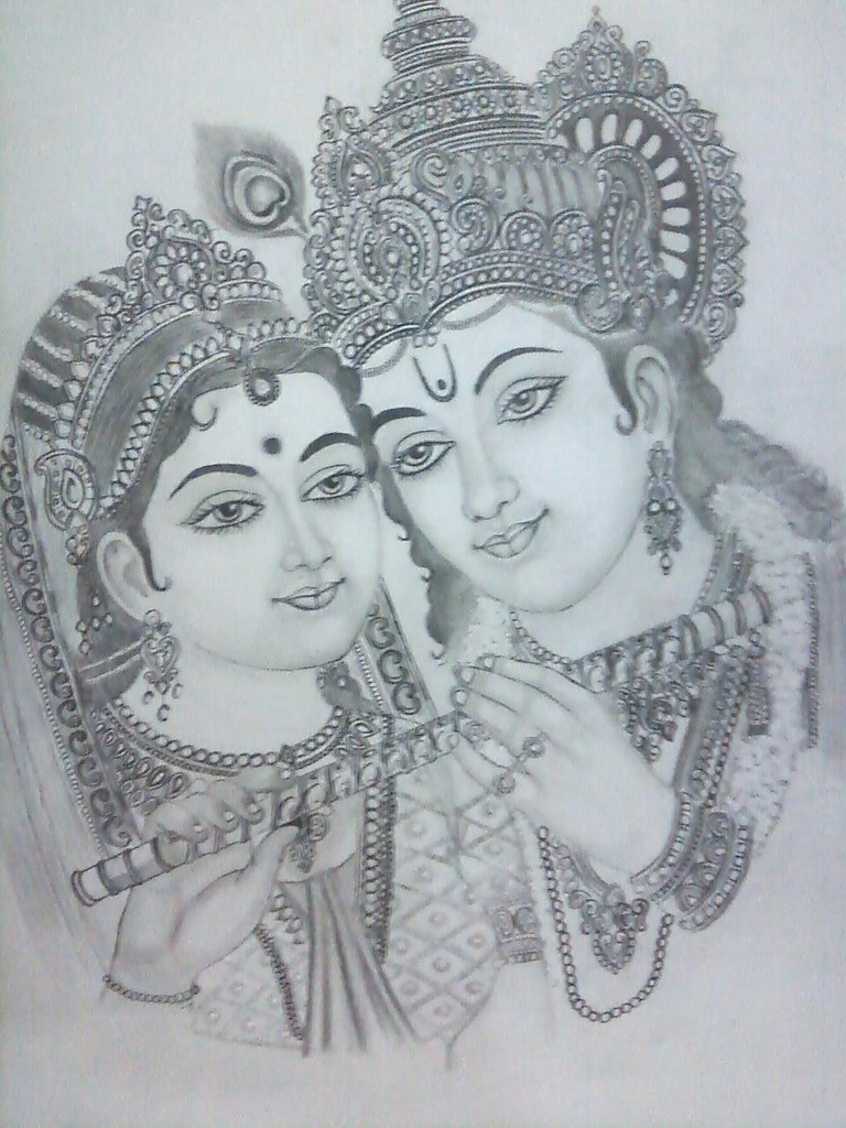 768x1024 Radha Krishna Pencil Sketch Easy Radha Krishna Pencil Drawing