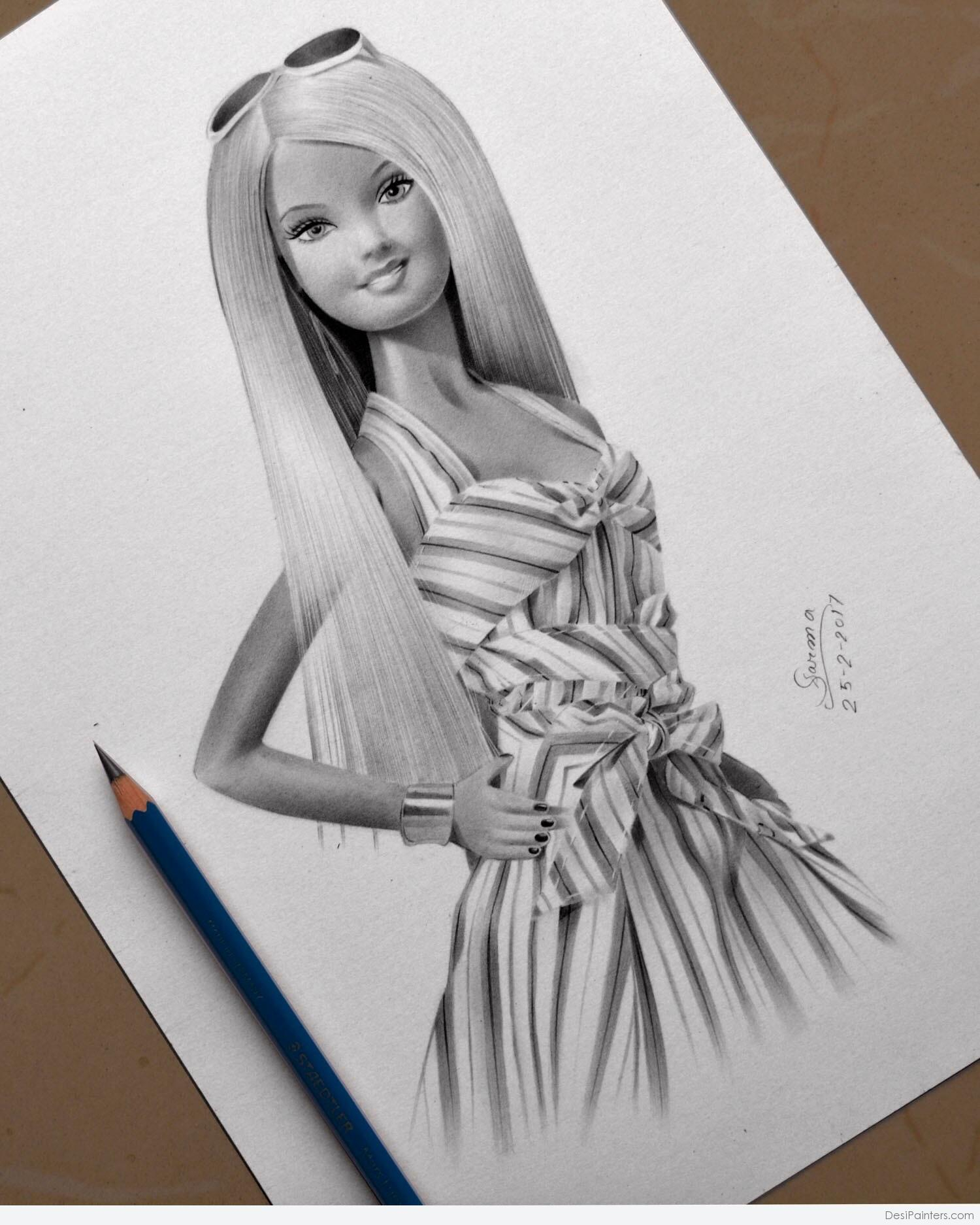 1500x1874 Doll With Pencil Scratch Image Pictures Pencil Sketch Of Barbie