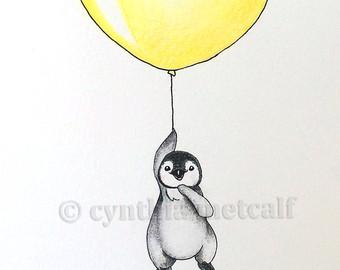 340x270 Original Drawing Penguin Dandelion Nursery Art
