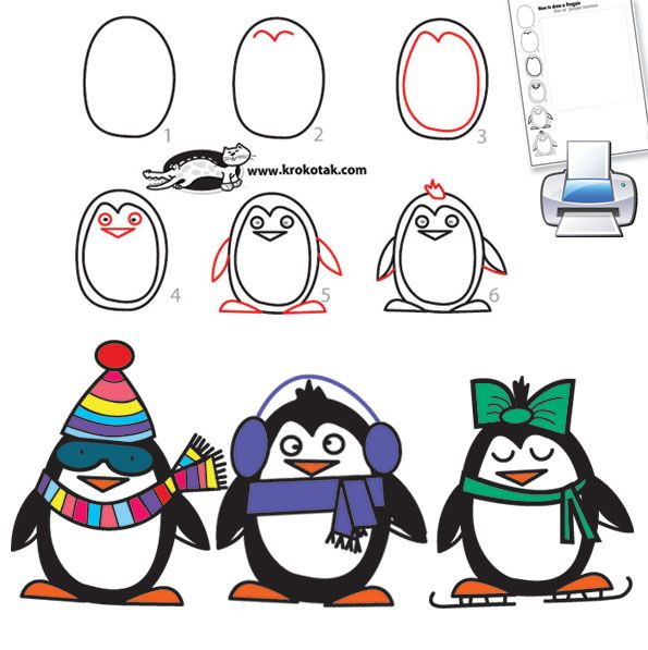 595x597 How To Draw A Penguin In 6 Easy Steps Doodling