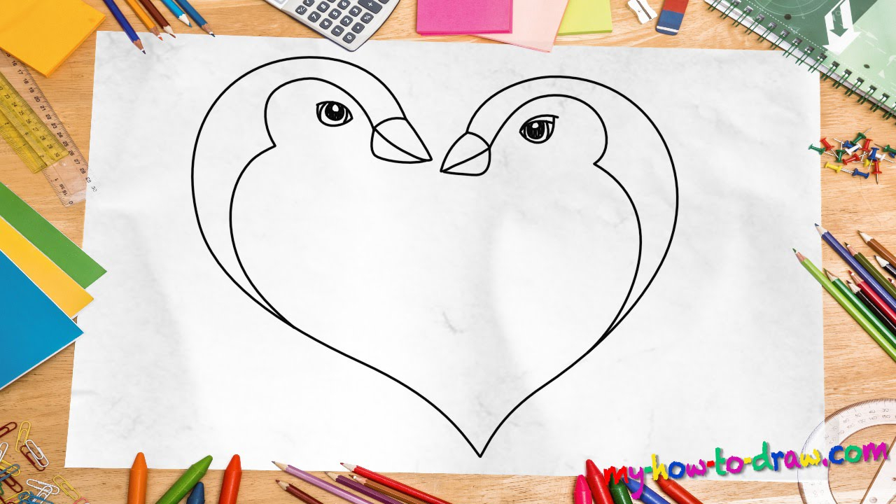 1280x720 Best Drawing For Kids How To Draw A Penguin Love Heart
