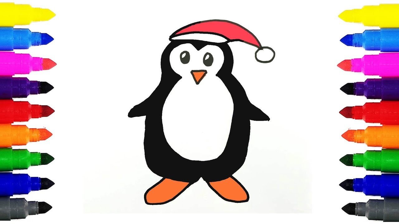 1280x720 How To Draw Penguin Kids Drawing And Coloring Penguin