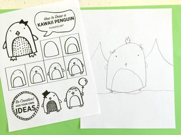 600x450 How To Draw A Kawaii Penguin Tinkerlab