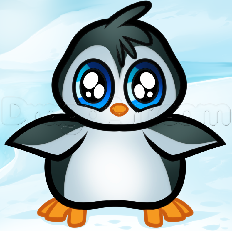 790x785 How To Draw A Baby Penguin, Step By Step, Cartoon Animals, Animals
