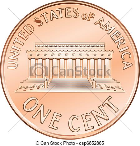 450x470 Vector American Coin One Cent, Penny. American Money, One