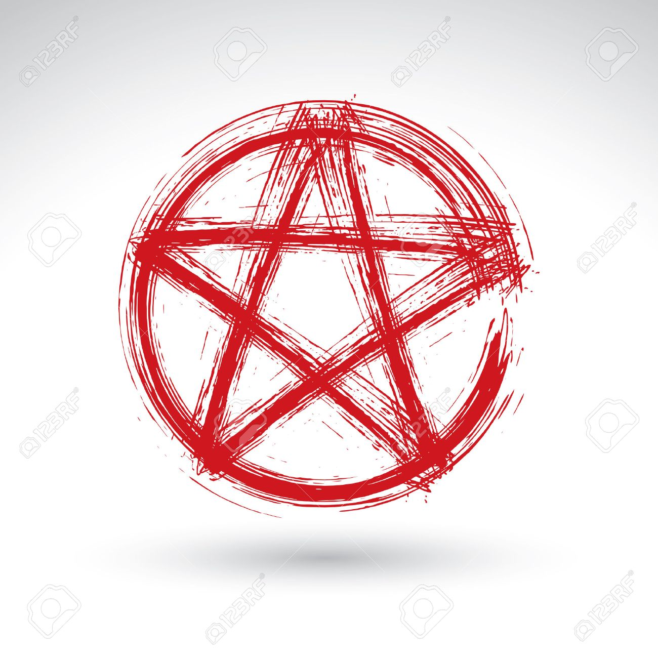 1300x1300 Hand Drawn Pentagram Icon Scanned And Vectorized, Brush Drawing