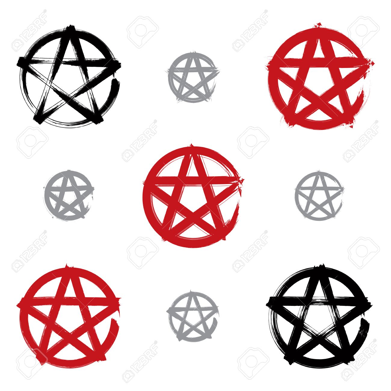 1300x1300 Set Of Hand Drawn Pentagram Icons Scanned And Vectorized