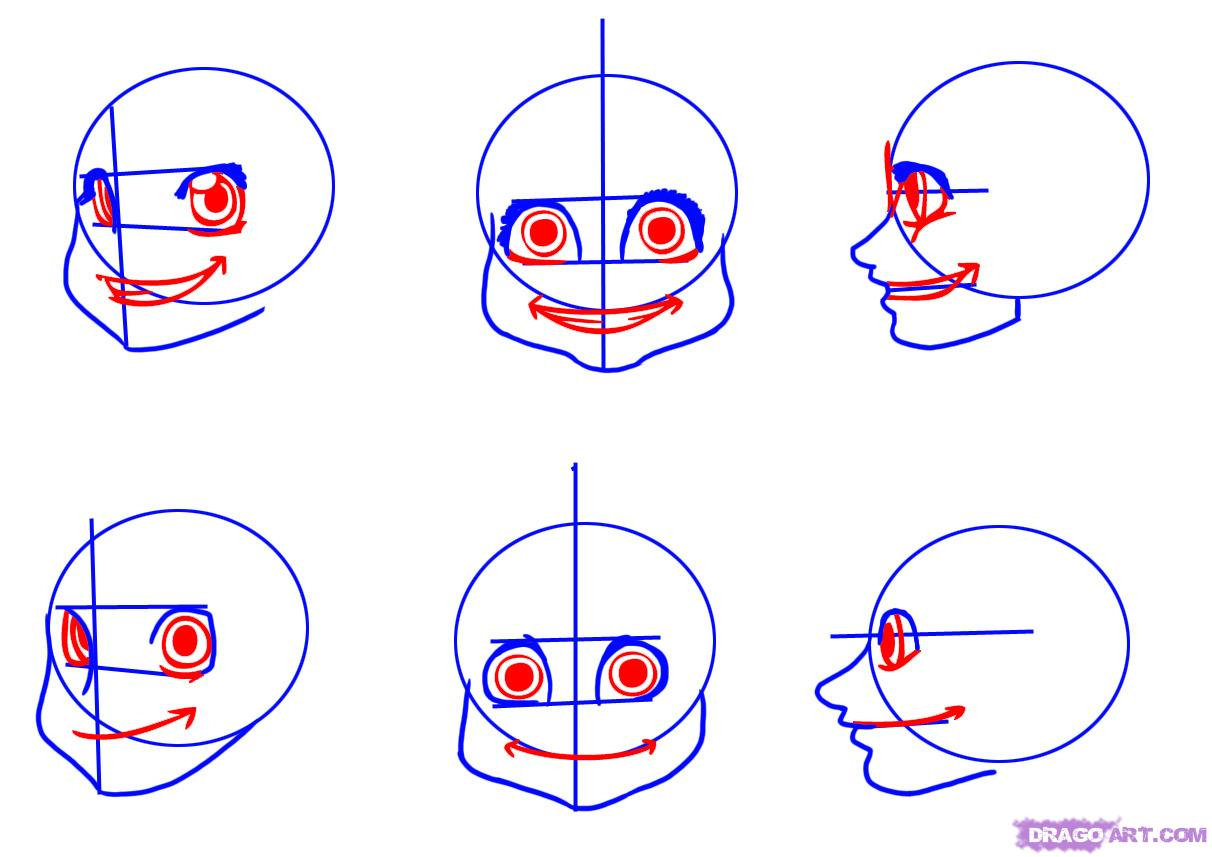 1212x857 Cartoon Face Drawing Tutorial How To Draw Cartoon Faces, Step By