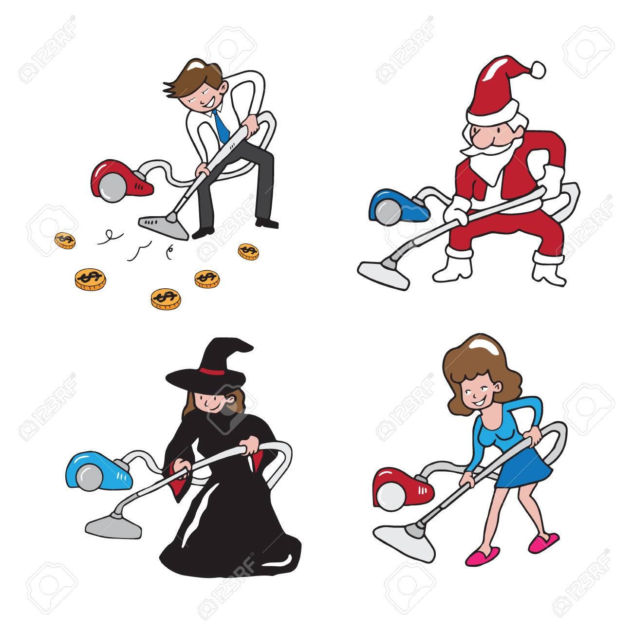 1300x1300 People Vacuum Cleaning Cartoon Drawing Royalty Free Cliparts