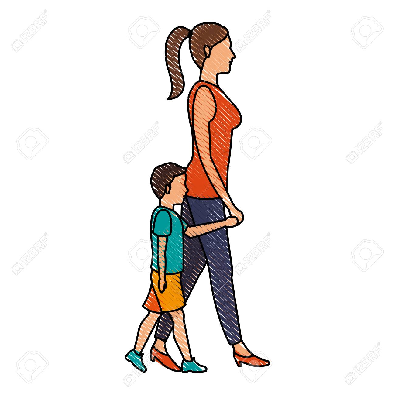 1300x1300 Drawing Mom Walking Her Son Holding Hands Vector Illustration