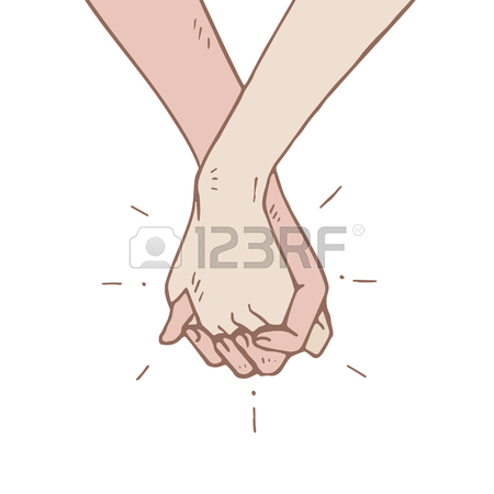 450x450 Drawing Of Holding Hands Isolated On White Background. Symbol