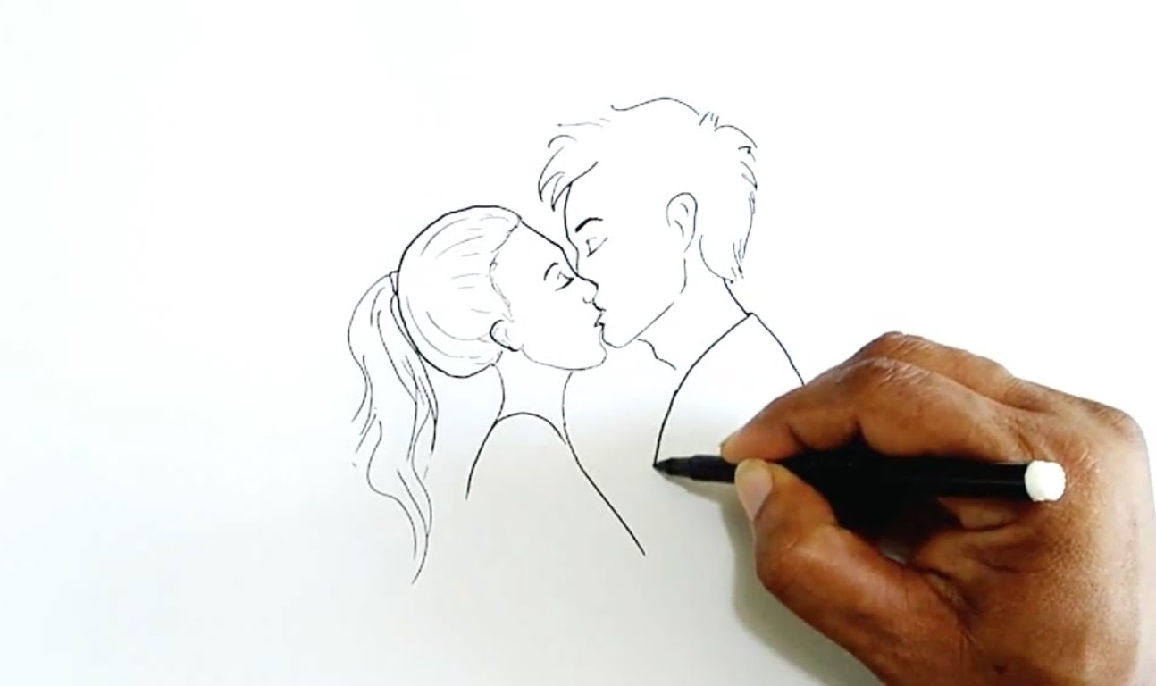 1294x768 Simple Very Easy Kiss Drawing How To Draw Two People Kissing Who