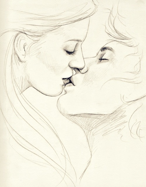 500x638 Two People Kissing Drawing