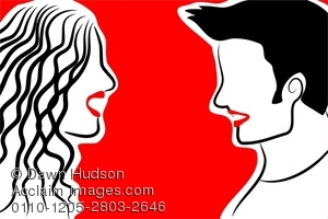 300x200 Illustration Of Simple Line Drawing Of A Couple Talking