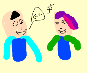 300x250 No Homo, Yes Homo (Two Anime People Talking) (Drawing By Clarissa