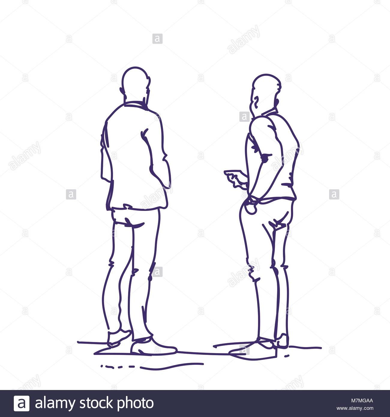 1300x1390 Two Man Standing Back People Sketch Holding Smart Phones Talking